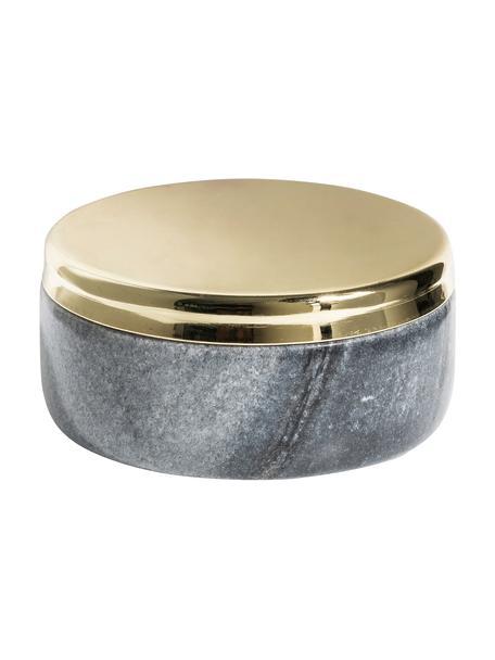 Marmor-Aufbewahrungsdose Sakata, Marmor, Metall, Grau, Goldfarben, Ø 10 x H 4 cm