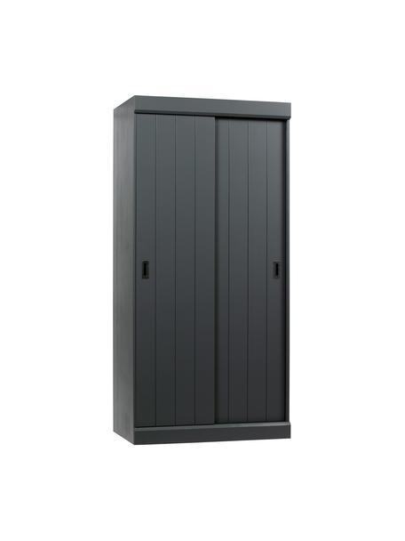 Kledingkast Hit met 2 schuifdeuren in grijs, Frame: massief grenenhout, gelak, Onderzijde: HDF, Handvatten: metaal, Staalgrijs, 98 x 205 cm