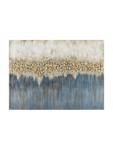 Quadro dipinto a mano Danish Arts I, Immagine: Pitture ad olio su tela (, Bianco, blu, dorato, Larg. 120 x Alt. 90 cm