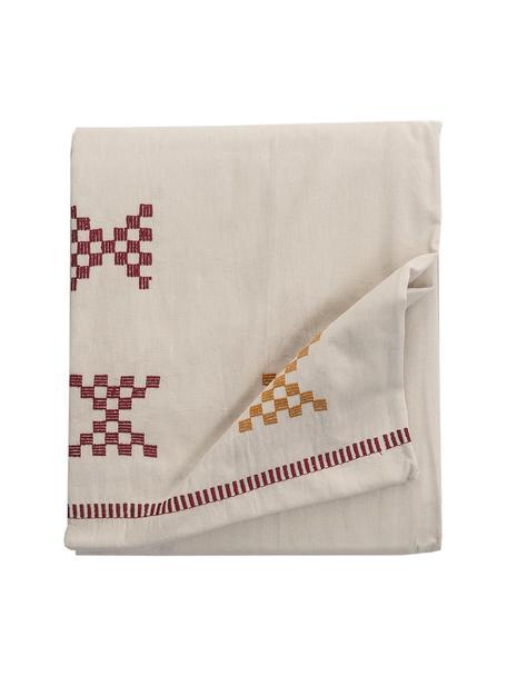 Bestickte Tischdecke Kelti mit Ethno Muster, Baumwolle, Gebrochenes Weiss, Rot, Gelb, Für 6 - 8 Personen (B 160 x L 250 cm)