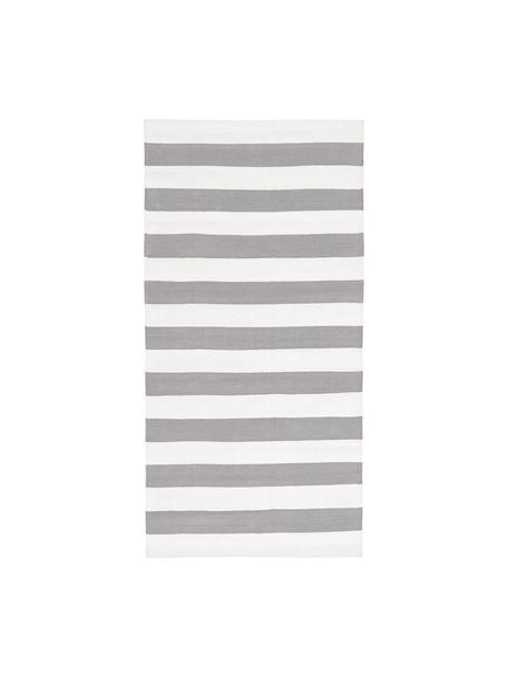 Tappeto in cotone a righe Blocker, 100% cotone, Bianco crema/grigio chiaro, Larg. 70 x Lung. 140 cm (taglia XS)