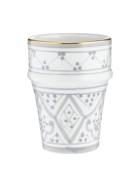 Tazza fatta a mano stile marocchino con bordo oro Beldi, Ceramica, Grigio chiaro, crema, oro, Ø 8 x Alt. 11 cm