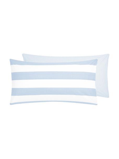 Funda de almohada de algodón  Lorena, caras distintas, Azul claro, blanco crema, An 45 x L 85 cm