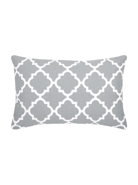 Kissenhülle Lana in Grau mit grafischem Muster, 100% Baumwolle, Grau, Weiß, 30 x 50 cm