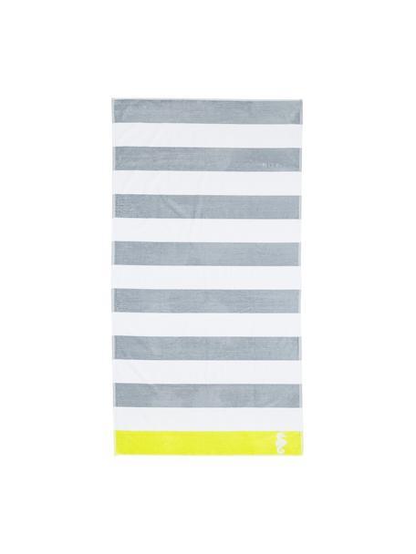 Ręcznik plażowy Seahorse Albatros, Szary, biały, limonkowy, S 100 x D 180 cm