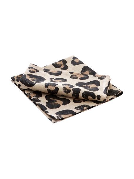 Tovagliolo in cotone con stampa leopardata Jill 2 pz, 100% cotone, Beige, nero, Larg. 45 x Lung. 45 cm