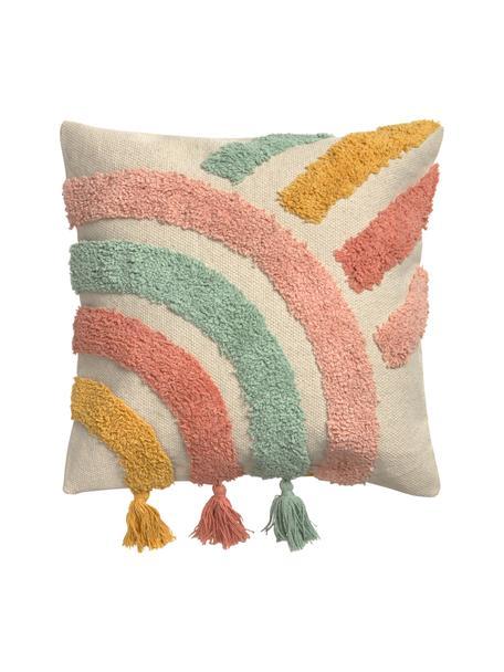 Kissenhülle Arco mit buntem Strukturmuster und Quasten, 100% Baumwolle, Beige, Mehrfarbig, 45 x 45 cm