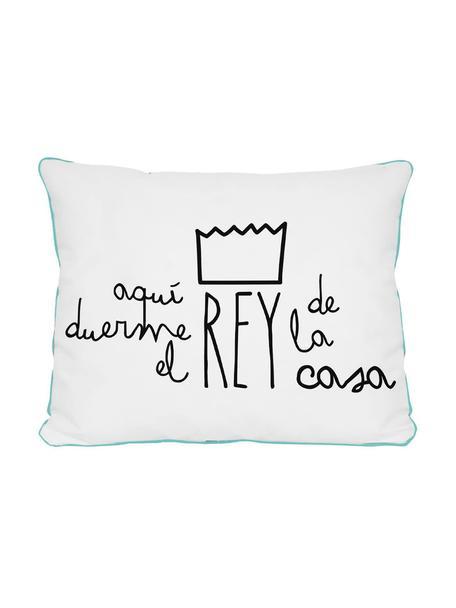 Cojín Rey, con relleno, Blanco, negro, azul claro, An 50 x L 35 cm