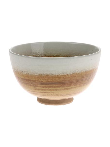 Handgemachte Schälchen Yunomi im japanischen Style, 2 Stück, Steingut, Braun, Weiß, Cremefarben, Ø 11 x H 7 cm