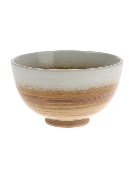 Kommen Yunomi in Japanse stijl, 2 stuks, Keramiek, Bruin, wit, crèmekleurig, Ø 11 x H 7 cm