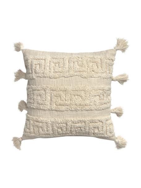Boho Kissenhülle Hera mit Hoch-Tief-Muster und Quasten, 100% Baumwolle, Cremefarben, 45 x 45 cm