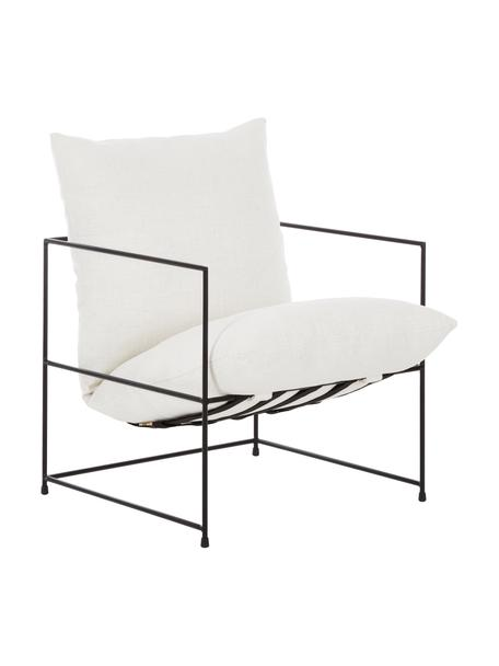 Fauteuil Wayne, Bekleding: 80 % polyester, 20 % kato, Frame: gepoedercoat metaal, Geweven stof wit, B 69 x D 74 cm