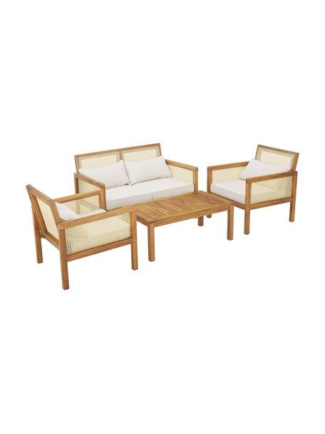 Tuin loungeset Vie, 4-delig, Frame: massief geolied acaciahou, Beige, Set met verschillende formaten