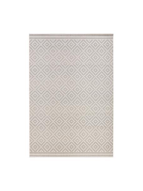 In- & Outdoor-Teppich Meadow Raute mit grafischem Muster, Grau, Beige, B 140 x L 200 cm (Grösse S)