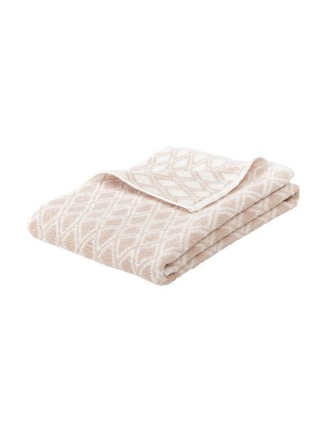 Wende-Handtuch Ava mit grafischem Muster, 100% Baumwolle, mittelschwere Qualität 550 g/m², Sandfarben, Cremeweiss, Gästehandtuch