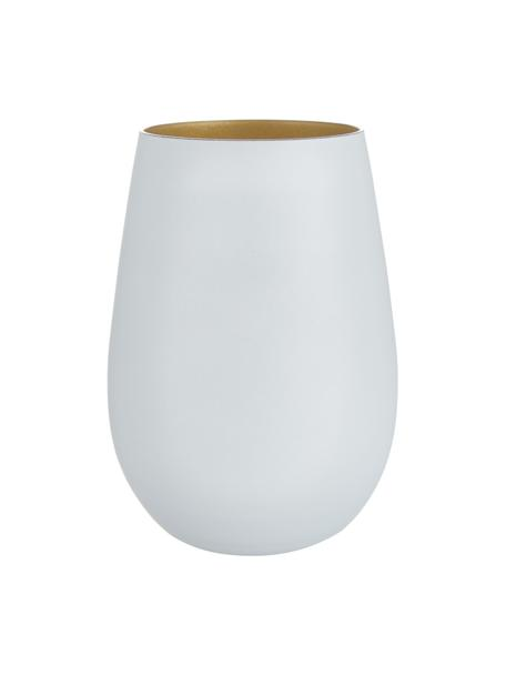 Bicchiere tipo long drink in cristallo Elements 6 pz, Cristallo rivestito, Bianco, ottonato, Ø 9 x Alt. 12 cm