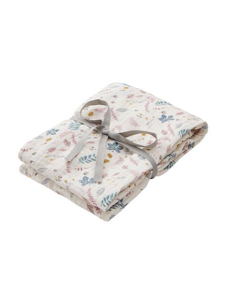 Manta bebé Pressed Leaves, 100%algodón ecológico, Crema, rosa, azul, gris, amarillo, An 120 x L 120 cm