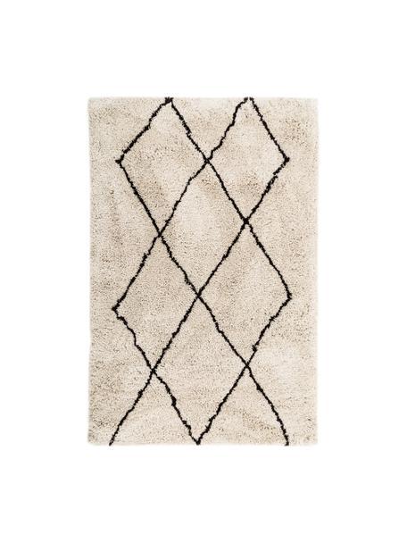 Tappeto a pelo lungo taftato a mano Nouria, Retro: 100% cotone, Beige, nero, Larg. 120 x Lung. 180 cm (taglia S)
