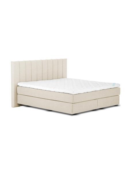 Łóżko kontynentalne premium Lacey, Nogi: lite drewno bukowe, lakie, Beżowy, S 140 x D 200 cm