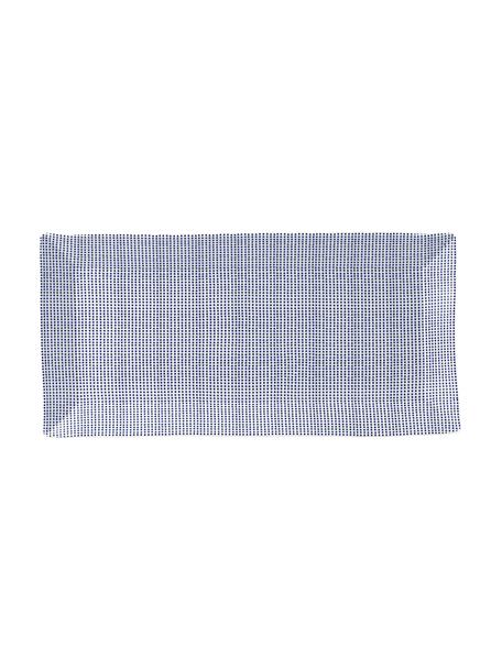 Gemusterte Porzellan-Servierplatte Pacific, Porzellan, Weiss, Blau, 18 x 39 cm
