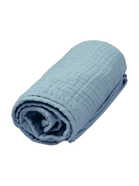 Plaid muslin in cotone organico Sensitive, 100% cotone organico, Blu, Larg. 100 x Lung. 100 cm