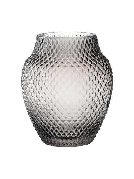 Handgemaakte glazen vaas Poesia, Glas, Grijs, Ø 19 x H 23 cm