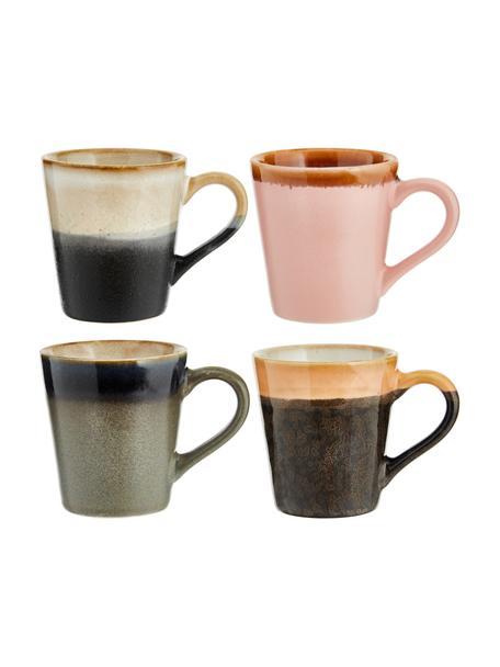 Handgemaakte espresso kopjes 70's in retro stijl, 4-delig, Keramiek, Multicolour, Ø 6 x H 6 cm