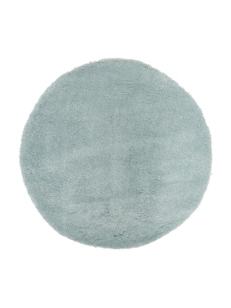 Tappeto peloso rotondo verde menta Leighton, Retro: 100% poliestere, Verde menta, Ø 120 cm (taglia S)