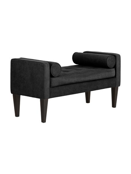 Bettbank Mia mit Kissen, Bezug: 92% Polyester, 8% Nylon, Beine: Birkenholz, lackiert, Schwarz, 115 x 61 cm