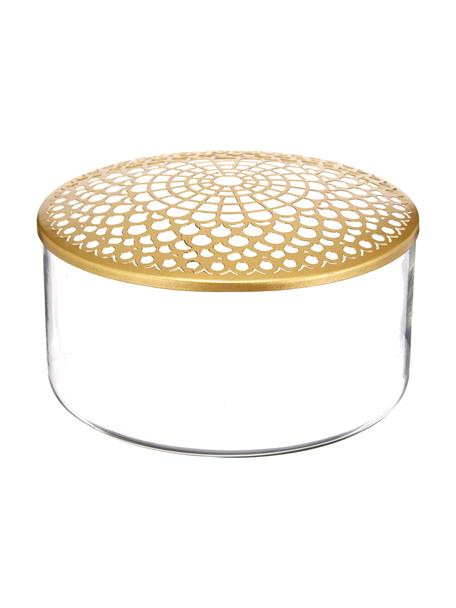 Kleine glazen vaas Kassandra met metalen deksel, Vaas: glas, Deksel: vermessingd edelstaal, Vaas: transparant. Deksel: messingkleurig, Ø 21 x H 10 cm