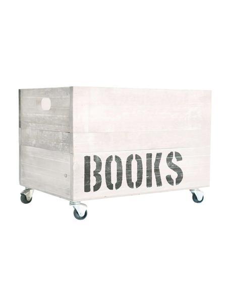 Caja de almacenaje Books, Caja: madera de pino, Blanco, marrón, An 50 x Al 32 cm