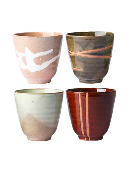 Set 4 tazze in stile giapponese senza manico Yunomi, Ceramica, Multicolore, Ø 9 x Alt. 8 cm