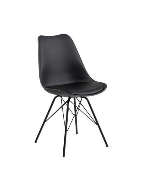 Sedia in materiale sintetico Eris 2 pz, Seduta: materiale sintetico, Gambe: metallo verniciato a polv, Nero, Larg. 49 x Prof. 54 cm