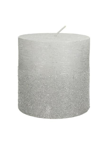 Stumpenkerze Glitters, Wachs, Silberfarben, Ø 10 x H 10 cm