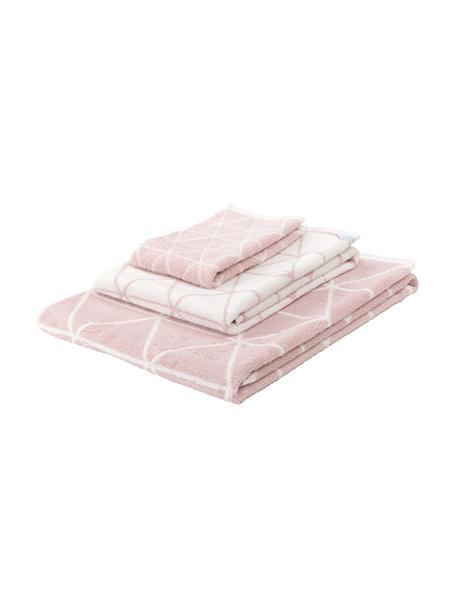 Set de toallas Elina, 3pzas., caras distintas, Rosa, blanco crema, Set de diferentes tamaños