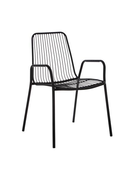 Garten-Armlehnstühle Tirana aus Metall, 2 Stück, Metall, pulverbeschichtet, Schwarz, B 54 x T 54 cm