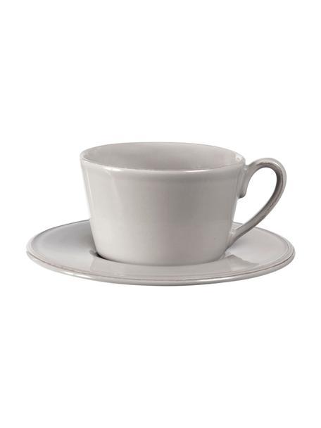 Teetasse mit Untertasse Constance im Landhaus Style, Steingut, Hellgrau, Ø 19 x H 8 cm