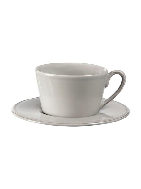 Tazza da tè con piattino Constance, Terracotta, Grigio chiaro, Ø 19 x Alt. 8 cm