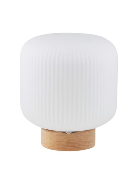 Lampada da tavolo Milford, Paralume: vetro opale, Base della lampada: legno, Bianco opalino, legno, Ø 20 x Alt. 21 cm