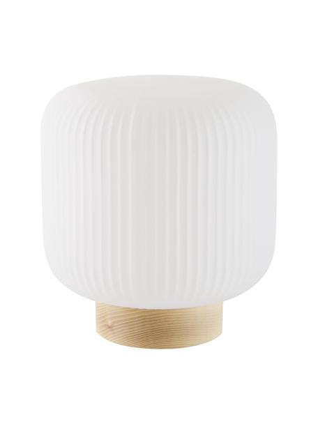 Lámpara de mesa pequeña Milford, estilo escandinavo, Pantalla: vidrio opalino, Cable: cubierto en tela, Blanco opalino, madera, Ø 20 x Al 21 cm