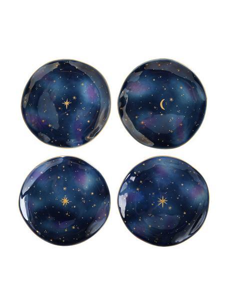 Platos postre Galaxy, 4uds., Porcelana, Azul, dorado, Ø 16 x Al 2 cm