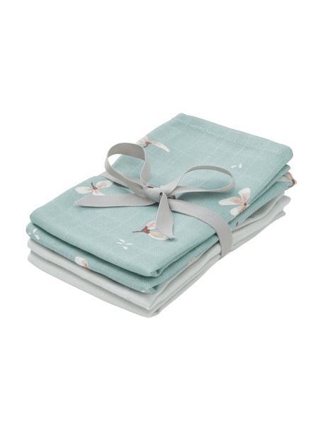 Set de toallitas de tela de algodón ecológico Wildflower, 4pzas., 100%algodón ecológico, Azul claro, crema, gris, rosa, An 30 x L 30 cm