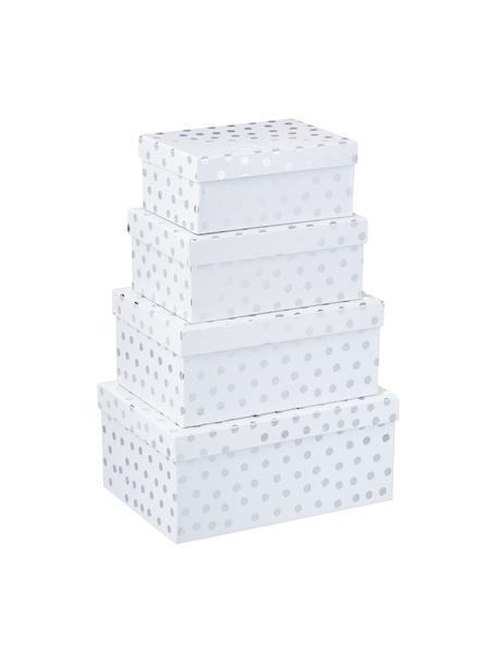 Set de cajas regalo Dots, 4pzas., Cartón, Blanco, plateado, Set de diferentes tamaños