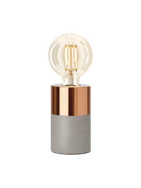 Kleine Beton-Tischlampe Athen, Grau, Kupfer, Ø 8 x H 14 cm