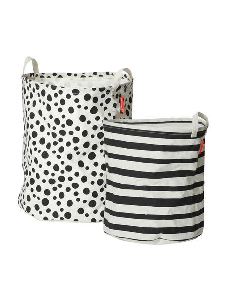 Set 2 cestini portaoggetti Soft, 65% cotone, 35% poliestere, PU-rivestito, Nero, bianco, Set in varie misure