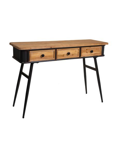 Consola de madera de abeto Hendrio, Patas: hierro, Negro, Marrón, An 120 x Al 80 cm
