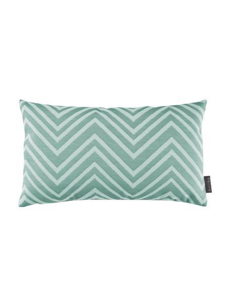 Federa arredo da esterno con motivo a zigzag Lobos, 100% poliacrilico, Verde, beige, Larg. 30 x Lung. 50 cm