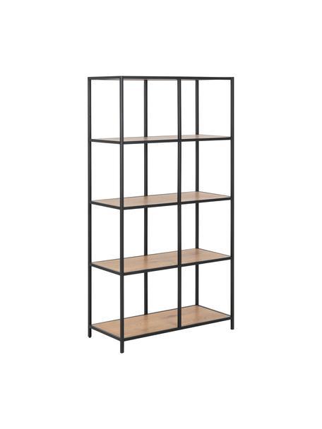 Libreria in legno e metallo Seaford, Ripiani: pannello di fibra a media, Struttura: metallo verniciato a polv, Marrone, Larg. 77 x Alt. 150 cm