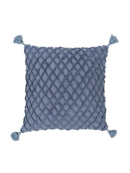Federa arredo con motivo a rilievo Royal, Cotone, Blu, Larg. 45 x Lung. 45 cm