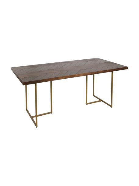 Mesa de comedor Bruno, Tablero de fibras de densidad media (MDF) con laminado de madera de acacia, Marrón, An 180 x F 90 cm